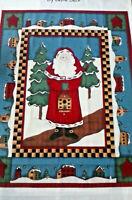 "Folk Art Christmas Santa Houses Trees ""Tis The Season"" Cotton Fabric Panel"