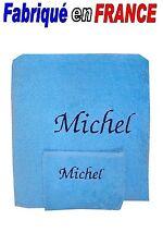 Serviette + gant de toilette personnalisé ou drap de bain + gant NEUF Ref. bleu
