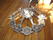 ANTIQUE RIDDLE CO GOTHIC 6 LITE CHANDELIER BODY W/FLORAL PAINTINGS 5010