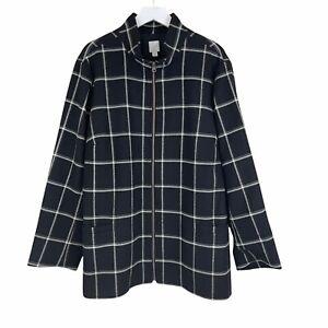 J. Jill Coat Jacket 3x Plus Windowpane Check Plaid Zip Front Pockets Black White