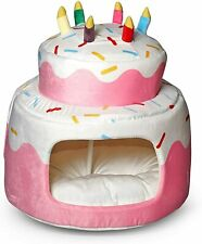 New listing Nandog Pet Gear Pink Birthday Cake Sprinkles Micro Plush Dog Cat Cave Bed (New)