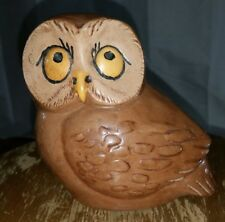 ceramic owl figurine brown painted collectible bird decor sculpture statue