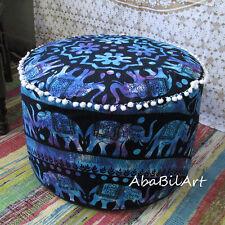 "22"" Indian Pouf Ottoman Elephant Mandala Pouf Foot Stool Floor Pillow Decor Thro"