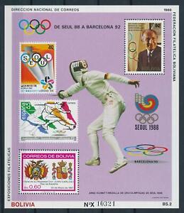 [106012] Bolivia 1988 Olympic Games Seoul Barcelona fencing Souvenir Sheet MNH
