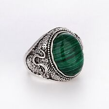 Men's/Women's Silver malachite Rings Fashion Jewelry Size 8 9 10 11 12