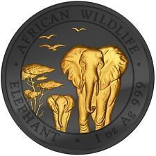 Somalia 2015 Somali Elephant Golden Enigma 1 Oz Silver Coin Ruthenium + BONUS
