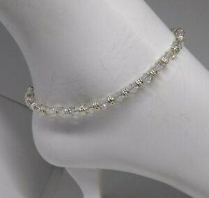 Swarovski Crystal Clear Bicone & Silver Rondel Beaded Anklet/ Bracelet on Steel