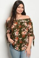 Women's Plus Size Olive Green Floral Cold Shoulder Top Tie Accent Sleeve 3XL NEW