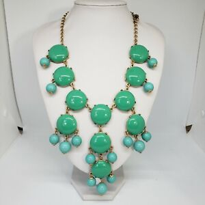 J. CREW Statement Bubble Necklace Green Turquoise Chunky Chic Beads Bib