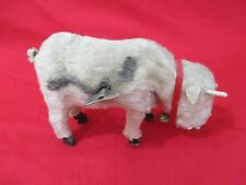 Antique Mohair Mechanical Wind-up Movable Toy Cow Made in Japan