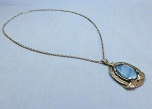 Vintage Miracle Necklace, Blue Striped Glass, Faux Agate