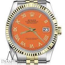Rolex 31mm Datejust 2 Tone Orange Roman Numeral 18K Yellow Gold & SS Watch