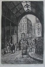 "GEOFFREY BROWN AUSTRALIAN FRAMED ETCHING ""FLOWER SELLERS PARIS MARKET"" 1953"