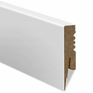 2m White MDF Skirting Board Wire Cable Trunking Clip Corner Any Size