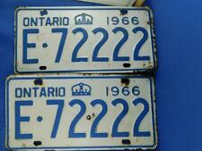 ONTARIO LICENSE PLATE 1966 E 72222 LOT PAIR SET POKER 4 OF A KIND CANADA VINTAGE
