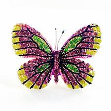 Crystal Gemstone Elegant Purple B10 Usa Butterfly Brooch Pin use Swarovski