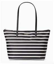 Authentic Kate Spade Purse Hayden Sailing Stripe Black White Top Zip Tote