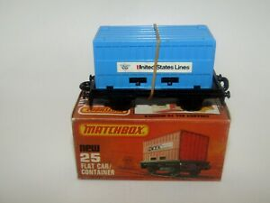 Matchbox Superfast No 25 Flat Car Container Blue United States Lines MIB HTF