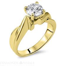G/VS Round Cut Enhanced Diamond Engagement Ring 1.03 CT Yellow Gold 14k New