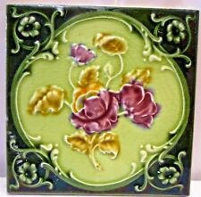 TILE VINTAGE PORCELAIN ROSE PURPLE ENGLAND ART NOUVEAU MAJOLICA COLLECTIBLES#112