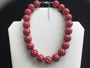 Women's Chunky Red And White Spotty Bead Choker Necklace