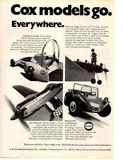 1970 COX MODELS .049 ENGINE ~ ORIGINAL PRINT AD