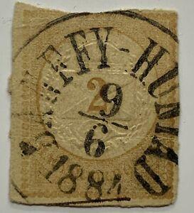 1884 BANFFYHUNYAD SOTN Hungary Cut Square (Huedin is in of Transylvania Romania)