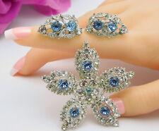 Vintage BOGOFF Star Brooch & Earrings Rhinestone Set Blue And Clear Silver Tone