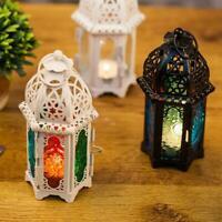 Vintage Hanging Glass Moroccan Style Lantern Tea Light AU Candle Decor Y4W1
