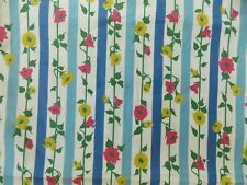 "Fabric Floral Flower Garden Vintage Morning Glory Ticking Stripe 36"" W Quilting"