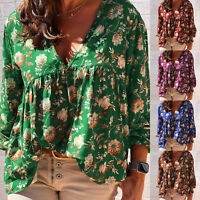 Womens V Neck Floral Long Sleeve Blouse Loose T Shirt Beach Casual Top Plus Size