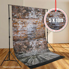 5'x10' Wood Floor Brick Wall Photography Backdrop Photo Studio Muslin Background