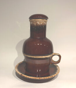 Vintage Hull USA Pottery Crestone Brown Drip Carafe w/Lid, Coffee Cup & Saucer