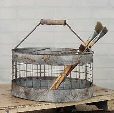 Industrial Metal Oval Milk Crate Primitive Vintage Antique Repro Country Style