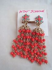 Betsey Johnson gold tone orange bead cluster chandelier dangle clip earrings,NWT