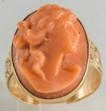 1890s Victorian 14k Solid Gold Carved Coral Cameo Ring w Hand Carved Shank