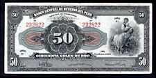 Peru. 50 Soles, B1 232822, 31-3-1933, Good Fine.