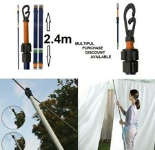 2X 8FT HEAVY DUTY TELESCOPIC WASHING LINE PROP EXTENDING 2.5m SUPPORT CLOTHES