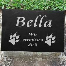 Hundepfoten Tiergrabplatte Tiergrabstein ► mit Gravur ◄ in Schiefer 20 x 15 cm