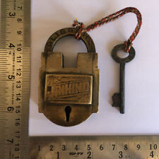 old antique solid brass padlock lock with key RARE shape JAI HIND