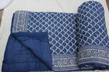 Handmade Kantha Indigo Blue Jaipuri Razai 100% Cotton Winter Queen Quilt