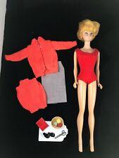 Vintage Mattel Midge 1962 Barbie Doll Bubble Cut w/Sweater Girl Outfit Japan VGC