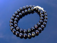 Black Obsidian Natural Gemstone Necklace 8mm Beaded Silver 16-30inch Healing