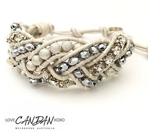 White Classy Cuff Genuine Leather Bracelet Handmade In Melbourne Bridal Evening