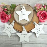 Cream SENT & MEANT Sentiment Porcelain HANGING STAR Home Decoration Gift Hanger