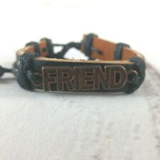 """NEW Unisex Leather Adjustable Cuff Copper """"Friend"""" Charm"""