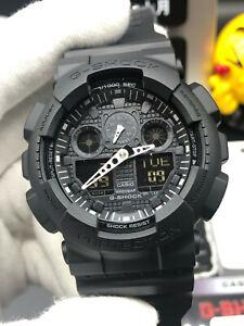 NEW G-Shock GA100-1A1 Black Resin Strap Chronograph Men's Watch