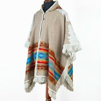 Alpaca-llama wool Unisex Hooded Cape Poncho Authentic S. American Aztec pattern