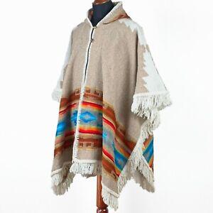 Alpaca-llama wool Unisex Hooded Cape Poncho Authentic S. American Aztec pattern