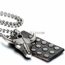 Punk Rock Ox Bull Head Charm Leather Dog Tag Pendant Men's Unisex Necklace Chain
